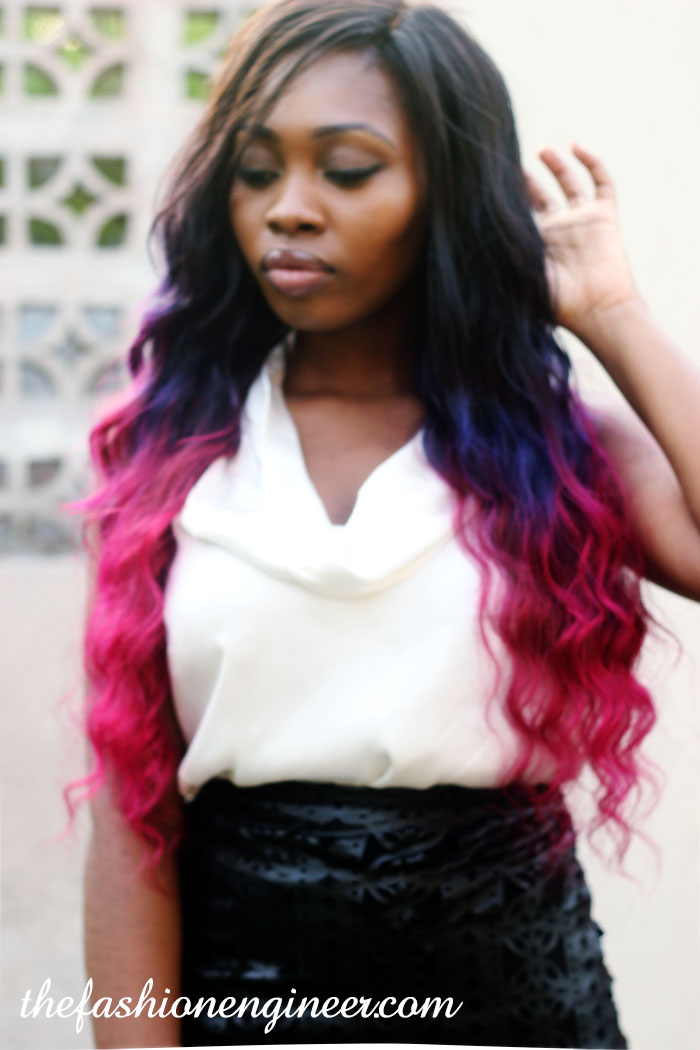 pink and violet ombre hair