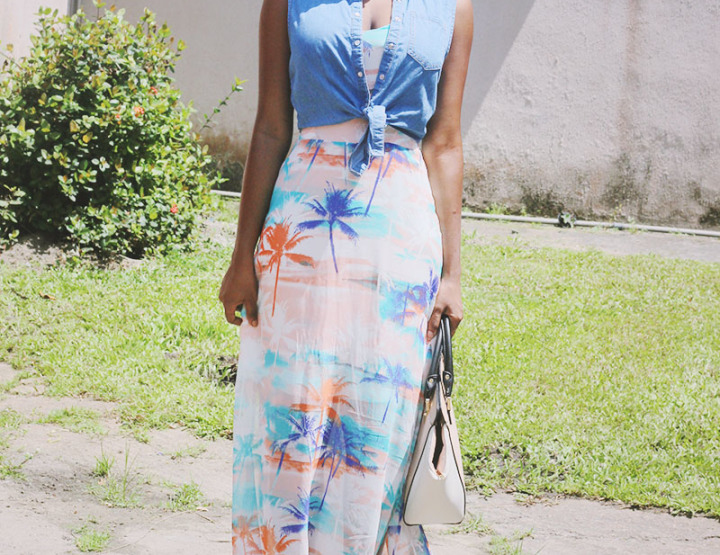 What I Wore: Maxi Dress,Denim Shirt And Flatforms