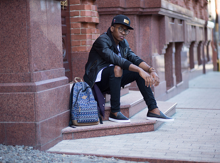 Menstyle: Leather Jacket and Snapbacks