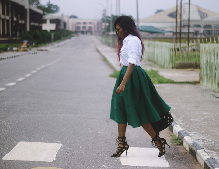 What I wore: Button down shirt,midi skirt and Gladiator heels