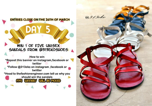 #TFEGIVEAWAYWEEK Day 5: Win 1 of 5 Unisex Sandals from @313EKO