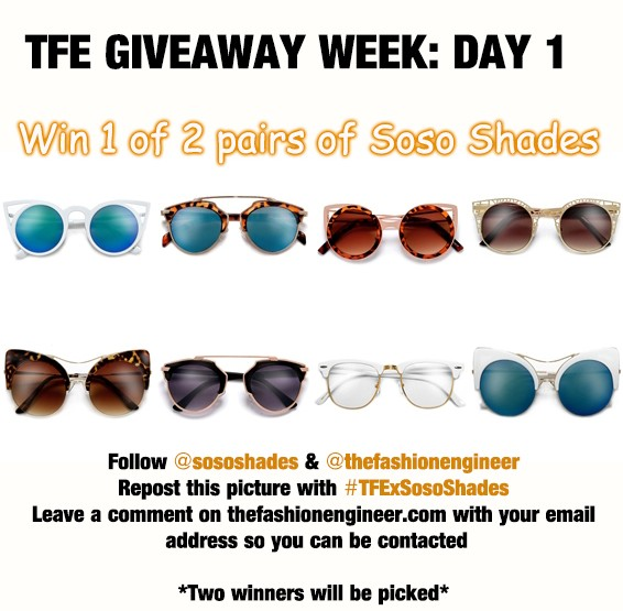 TFE Giveaway week Day 1! Win 1 of 2 pairs of Soso Shades #CLOSED