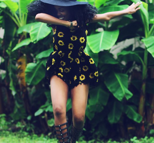 What I Wore: Sunflower Romper + Gladiator Sandals