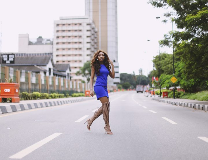 What I Wore: Nude Thigh High Gladiator Heels